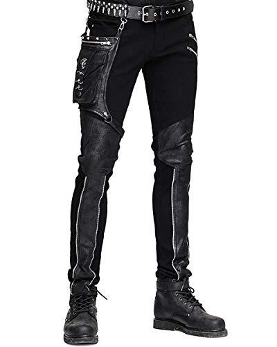 Devil FASHION HOMBRE dieselpunk Pantalones Vaqueros Negro Gótico jean Punk Piel Sintética Hip Bolso - Negro, XX-Large