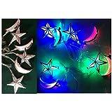 Ramadan, Adha and Fitr Eid Decorations-Mix Mini Crescent Hilal and Stars Lantern Multicolor Light Rope