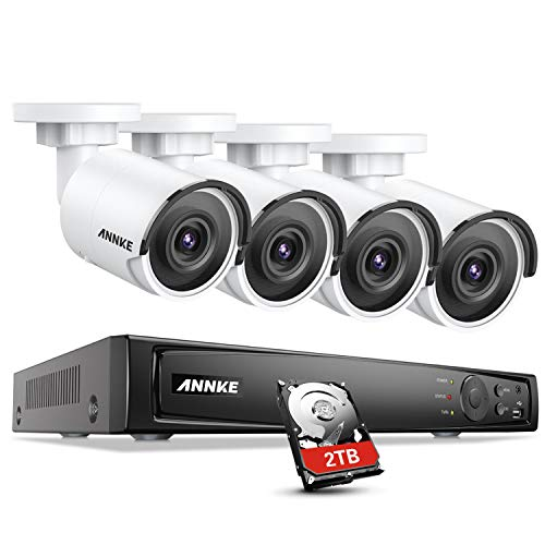 ANNKE 4K PoE Überwachungskamera Set, 8CH H.265 4K NVR Rekorder mit 4X 8MP Ultra HD IP Kameras 2TB HDD, Video Überwachungssystem für Homematic Innen Außen, 30m Nachtsicht und Bewegungserkennung (Sicherheit Zu Hause-surveillance-system)