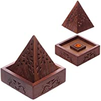 Brucia Incenso in legno Sheesham Piramide con decorazioni floreali preisvergleich bei billige-tabletten.eu