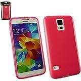 Emartbuy® Samsung Galaxy S5 Glänzend Gel Hülle Schutzhülle Case Cover Hot Rosa