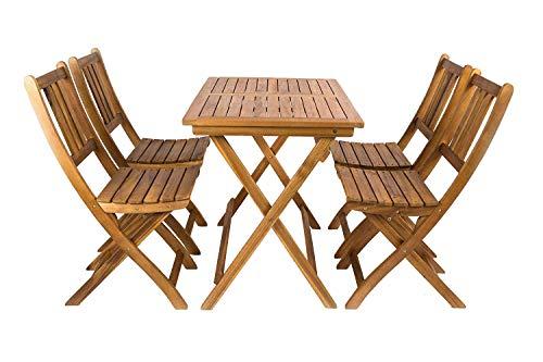 garten holzmoebel SAM® 5 TLG. Akazien-Holz Gartengruppe Blossom, Sitzgruppe bestehend aus 1 x Tisch und 4 x Gartenstuhl, zusammenklappbares Gartenmöbel, FSC® 100% Zertifiziert