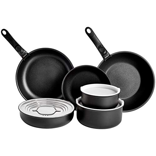 Amazonbasics 11 Piece Cookware Set with Lids, and 2 Removable Handles