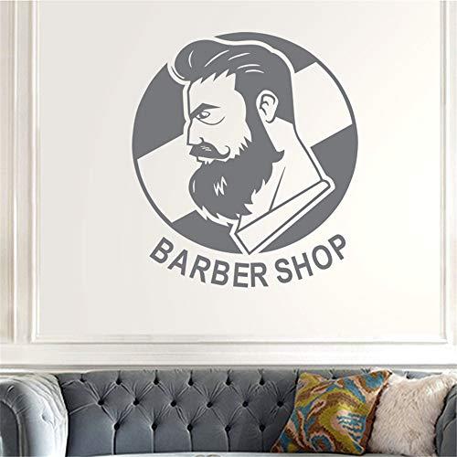 zlhcich Mann Friseur Aufkleber Name Chop Brot Aufkleber Haarschnitt Poster Vinyl Wandkunst Aufkleber Decor Windows Dekoration Wandbild58 * 65 cm