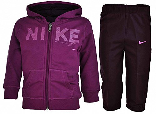 Nike Mädchen Trainingsanzüge Girls Fleece Jog Suit Hooded Tracksuit Infant Hoodie Joggers Purple New (24/36 Months) (Nike Fleece Kids)