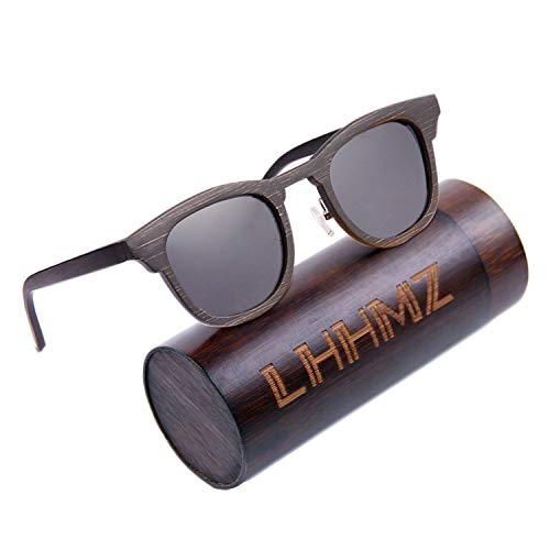 LHHMZ Männer Frauen Handgemachte polarisierte Bambus-Sonnenbrillen Leichter Vintage Draussen Stilvolle Brillen Schwimmende Sonnenbrillen mit Bambusetui