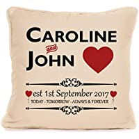 Personalised Valentines Day Or Wedding Anniversary Throw Pillow Gift For Him Her | 18x18 Inch Today Tomorrow Always Forever Cushion Pillow with Pad