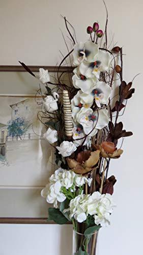 Link products - mazzo di fiori misti, secchi e artificiali, altezza 85cm, pronto da inserire in un vaso, realizzato nel regno unito white orchid