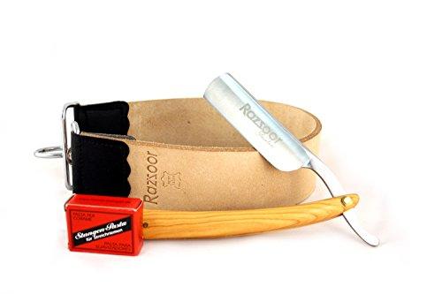 RAZZOOR 3-teiliges Rasiermesser Set Olive Ultra- Exklusives Rasiermesser Set mit rostfreier Edelstahl-Klinge - Streichriemen aus echtem Büffelleder, Streichriemenpaste aus Solingen