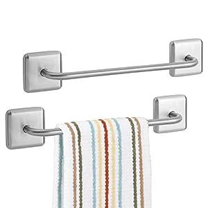 mDesign Juego de 2 toalleros adhesivos para baño y cocina – Elegante toallero de barra de acero inoxidable para paños de…