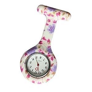Bullahshah Unisex-Taschenuhr FOB-Uhr Lila & Pink Floral Tunika Brosche Krankenschwester Arzt Analoganzeige Quarzwerk mit Silikon PColor5