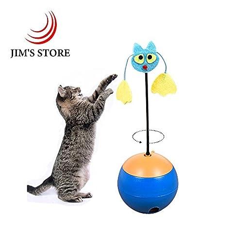 Katzenspielzeug Elektrisch, JIM'S STORE Katze Teaser Katzen Interaktives Spielzeug Lebensmittel Leckage Bälle mit LED Licht Zeiger für Katzen spielen (blau)