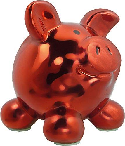 Swiggie Porzellan Sparschwein Metallic Rot Glücksschwein Spardose Sparbüchse: Größe: 08,5 cm