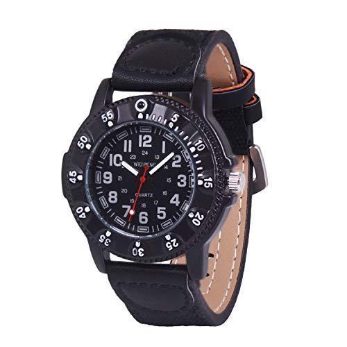 GaigorNiñosHombres RelojesdePulseraDeportivos Gran Caja de Reloj de 52mm Negro G004W003