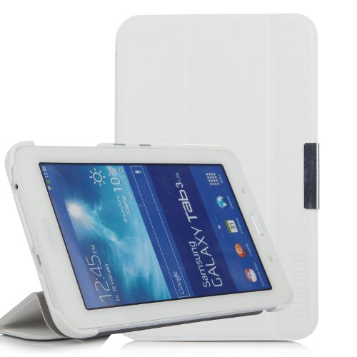 iHarbort® Samsung Galaxy Tab 3 7.0 Lite custodia in pelle, premio multi-angoli protettivo di peso leggero Case Cover custodia in pelle per Samsung Galaxy Tab 3 7.0 Lite SM-T110 SM-T111 SM-T113 SM-T116 Holder, blanco
