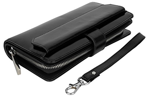 Yaluxe Donna Ultra grande Reise Wristlet Borsa Smartphone Passaporto Clutch (nero)