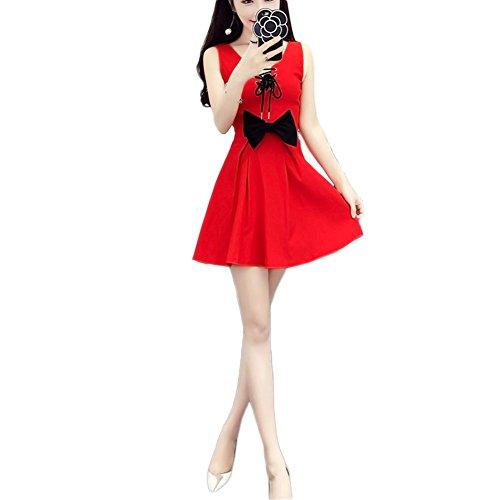 Fxwj Damen Weihnachtsfrau Kostüm Kleid Ladies Red Velvet Santa Miss Fancy Schmetterling Knoten Princess (Samt Kostüme Für Miss Erwachsene Santa)