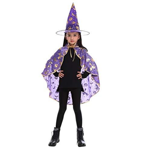 Hexen Kostüm Umhang Kinder Erwachsene Kinder Halloween Zauberer Hexe Mantel Cape Robe + Hat Set (Violett)