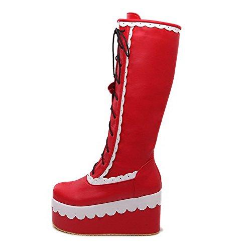 AllhqFashion Damen Rund Zehe Hoch-Spitze Hoher Absatz Gemischte Farbe Pu Leder Stiefel Rot