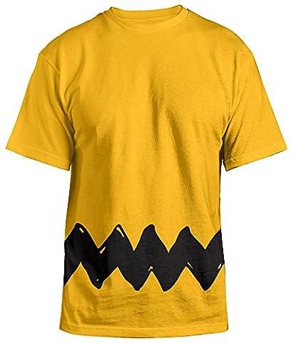 Peanuts Charlie Brown Zig Zag Herren Kostüm T-Shirt Gr. S, gelb (Linus Kostüm)