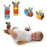 Lumanuby 4 Pcs/Set Soft Baby Toy Wrist Rattle Strap Socks Cute Donkey Monkey Panda Dog Cartoon Garden Bug Plush Rattle With Ring Bell Promote Baby\'s Vision, Hearing And Intelligence Development