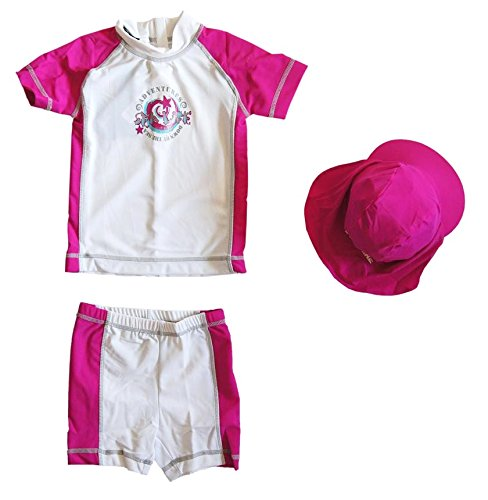 3teilig Mädchen Badeset UV Schutz Kinder LSF 50+ T Shirt Badehose Hose Bermuda Shorts Legging Anzug Kombi Cap Weiß/Pink 98/104