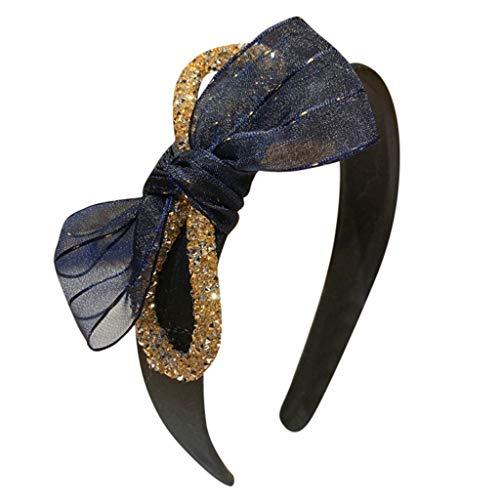 Yolmook Damen Haarreif mit Schleife und Kristallen Gr. Einheitsgröße, navy Bejeweled Damen