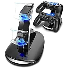 Microware Dual LED USB Charging Dock Stand Station For PS4 Playstation 4 Games Controller Console Gaming Joystick Accessories