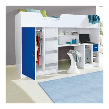 290637aad1f Mrsflatpack Lifestyle High Bed White with blue Door and Drawer M1400BLU