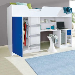 Mrsflatpack Lifestyle High Bed White with blue Door and Drawer M1400BLU