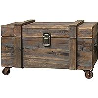 Estilo antiguo baúl con ruedas Baúl de madera de almacenaje 60x 32x 33cm)