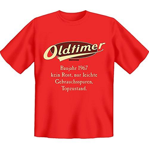 Geburtstags Set T-Shirt + Mini für die Flasche <->              Oldtimer Baujahr 1967              <->               Rot, ein kleines lustiges Geschenk Goodman Design® Rot
