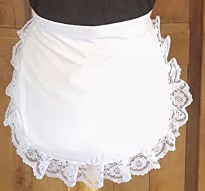 WHITE CHILDS WAIST WAITRESS APRON/PINNY LACE DETAIL by SPARKLES