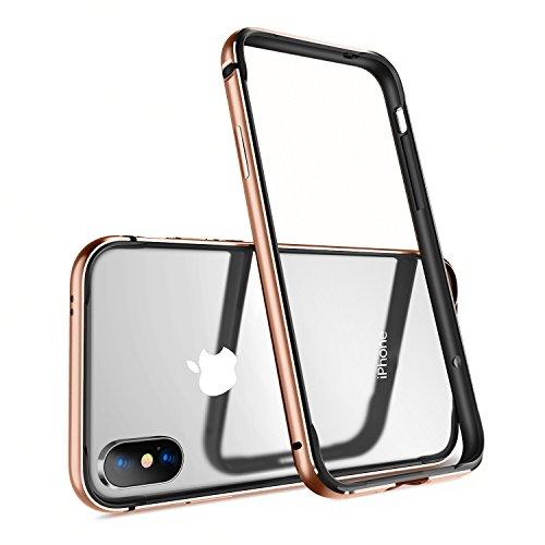 iPhone X Hülle, Humixx Eloxierten Aluminium Rahmen Mit Inneren Silikon Schutzhülle Bumper Leichte Stoßdämpfung Metall & TPU Huelle bumper case für iPhone X [Extre Series] (Silber) Gold