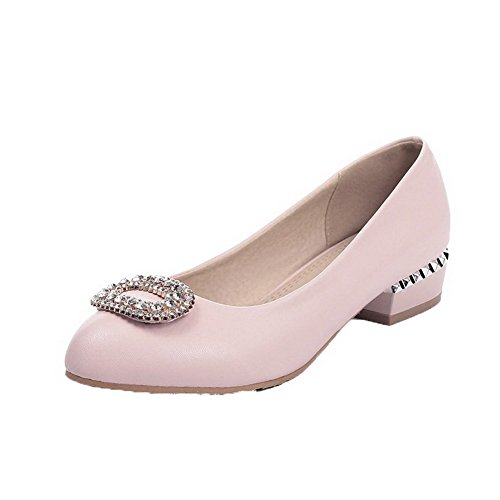 voguezone009-womens-solid-soft-material-low-heels-pull-on-round-closed-toe-pumps-shoes-pink-36