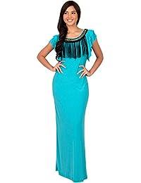 KOH KOH® Damen Ausschnitt Kürze Flügelärmel Maxikleid Elegante Lange Kleid Verziert