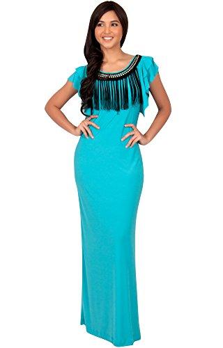 Damen Ausschnitt Kürze Flügelärmel Maxikleid Elegante Lange Kleid Verziert, Farbe Türkis, Größe XL / Extra Large (3) (Plus Size Göttin Kostüme)