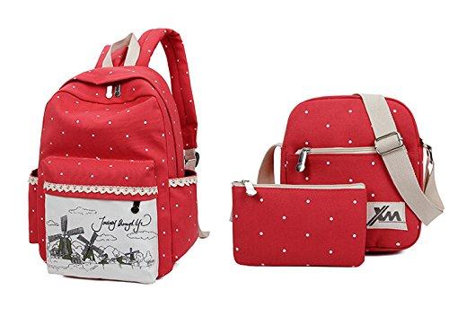 Minetom Pois 3 Pezzi Clutch Bag Messenger Tela Borsa Zainetto Donna Spalla Zaini Scuola Superiore Zainetti Ragazze Rosso