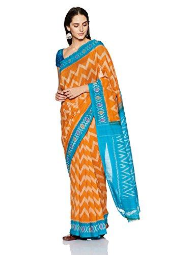 IndusDiva Pochampally Ikat Pure Cotton Handloom Saree (BLR1900006_Mustard_One Size)