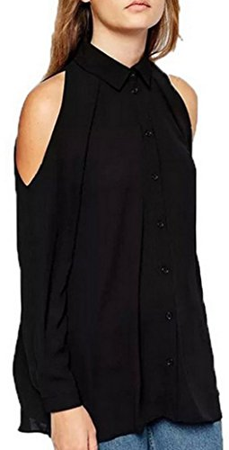 Donne pullover Shirts di Colore Solido Casual Top Maglietta Sexy Lunga Manica Spalla Fredda Tunica Camicie Sciolto Chiffon Bluse Nero