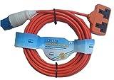 Aerials 10 m 16 A Ceeform Plug to 13 A Double Socket Arctic Caravan/Camping Mains Hook Up Cable - Orange