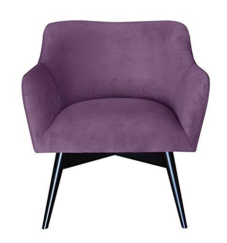 Happy Barok Sessel Mr. Tuip, Wollmischung 75 x 51 x 70 cm, Velour Easy Clean, Lila, Höhe, insgesamt ca. 70cm, Sitzhöhe 40cm, Breite 75cm, Tiefe Sitze ungefähr 51 cm, Breite des inneren Sitzes etwa 50 cm