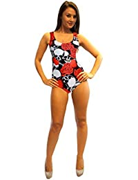 Heart Rose Skull Barbed Wire Swimsuit Bodysuit Leotard