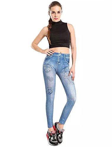 Nuovo donna denim blu stampato jeggings Club wear Casual Abbigliamento Leggings estate Wear taglia M UK 8-10EU 36-38