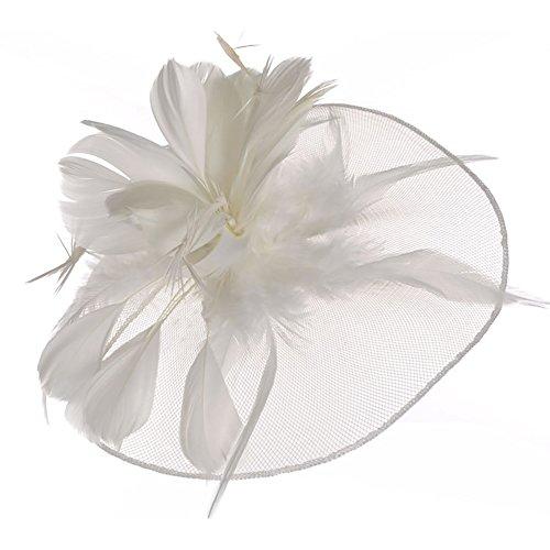 YSXY Fascinators Hut mit Feder Blumen Mesh Bänder Federn Haar Clip 20s 50s Haarschmuck Kopfschmuck Cocktail Tea Party Headwear für Mädchen und Frauen