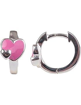 Unbespielt Schmuck Ohrschmuck Echt Silber Ohrringe Silber 925 Creolen mit Herz pink für Kinder 12 x 2 mm glänzend...