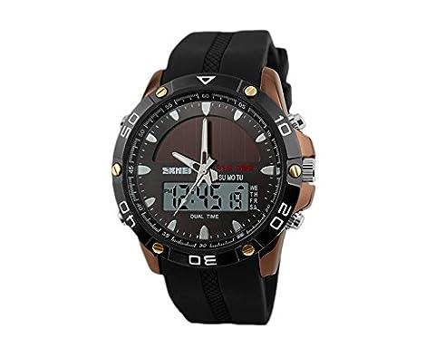 oumosi hommes Alimentation Solaire Militaire Dual Time Zones silicone bande sport montre analogique à quartz numérique poignet montre