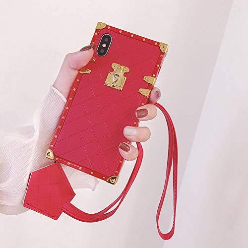 Stamm Quadratischen Form (Schutzhülle für iPhone XS Max, quadratisch, mit Umhängeband, Rhombisches Schaffell, Vintage-Design, schlank, weich, stoßfest, Schwarz, iPhone XR 6.1'', rot)