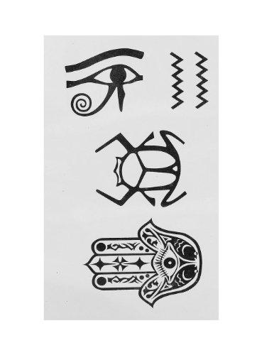 Bremsbeläge falsche Tattoo Tribal Hiéroglyphe Ägyptische Figur, Schwarz