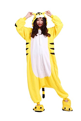 sene Onesies Kigurumi Pyjamas Tier Kostüme Cosplay Cartoon Nachtwäsche Gelb Tiger (Erwachsene Insekten Kostüme)